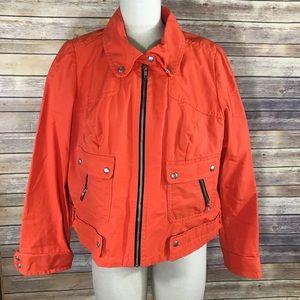 Lane Bryant orange lightweight jacket cargo/Moto